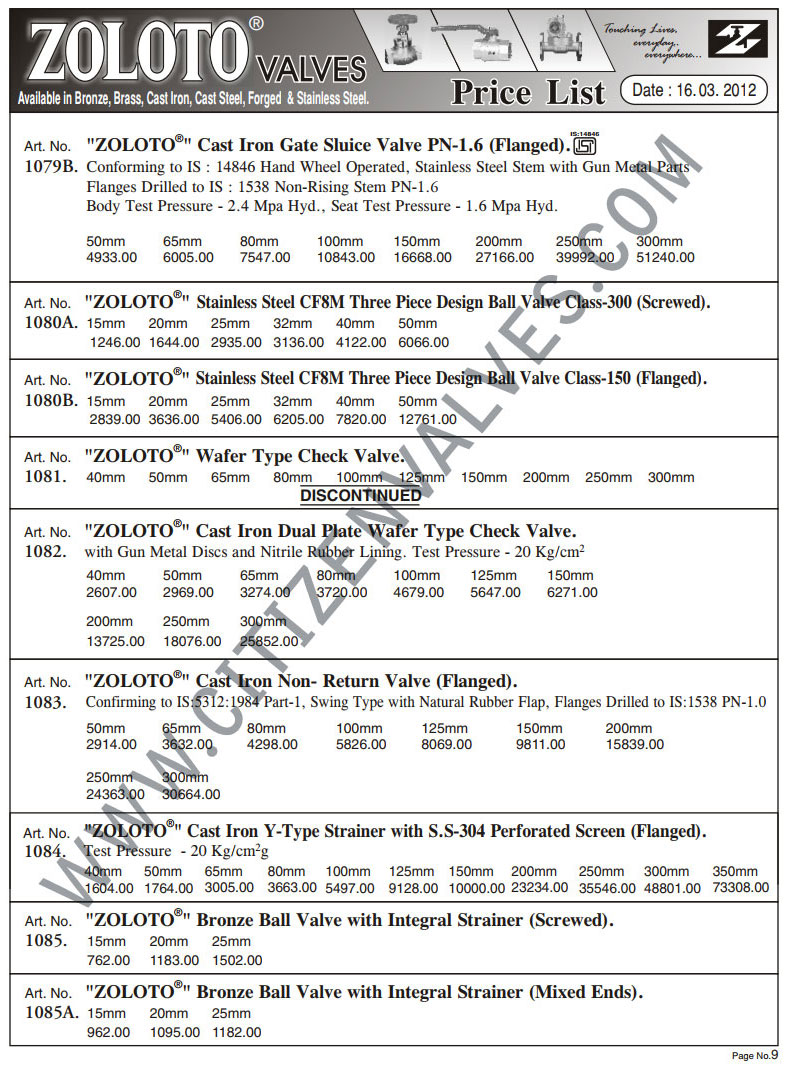 Zoloto Valves Price List Amp Zoloto Ball Gate Globe Valves Price