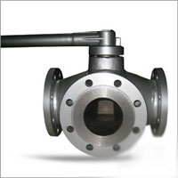 Three Way Plug Valve, 4 Inch, Wrench Operated