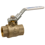 Ball Valve - Lead-Free* Brass, Two-Piece, Full Port, NPT x NPT, Locking Lever Handle